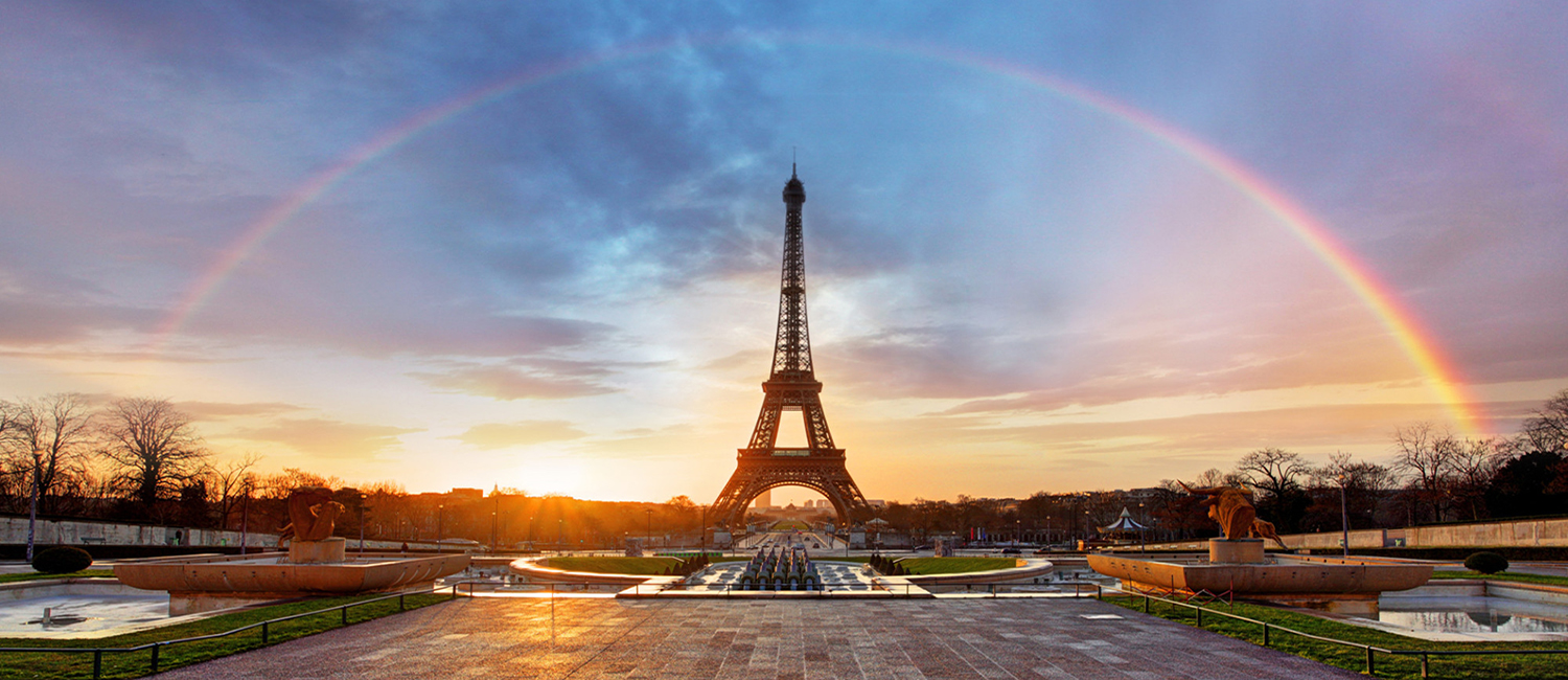 Rainbow over Eiffel tower, Paris